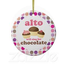Alto Music Choir Singer Funny Chocolate Ornament