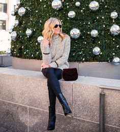 A cozy + casual holiday look with @nordstrom today on the blog! Isn't this little burgundy velvet bag amazing and it's under $55?! ❤️ It's the details that can take this sweater from day to night... Shop this exact outfit by clicking the link in my profile OR get the email sent to you via >> @liketoknow.it http://liketk.it/2pKFn #liketkit