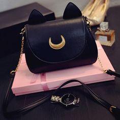 Moon Cat Sling Bag. Mini HandbagsBlack HandbagsLeather HandbagsWhite  Crossbody BagCrossbody BagsLeather Shoulder ... 2077fc6520584