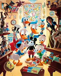 Scrooge McDuck With Donald and Huey, Louie and Dewey in the toy store 1865 x 2318