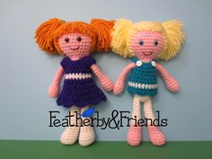 Macie & Norie - Little Sister Dolls - Crochet Patterns by Alicia Moore of Featherby & Friends