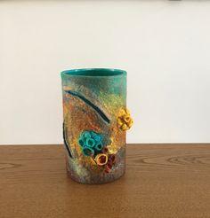 Felted Shibori vase, Felted vase small, Shibori Vase, Decor vessel, Stylish vase, Art vase Shibori, Yellow Vase, Tall Vases, Tree Bark, Nuno Felting, Blue Lagoon, Vases Decor, Making Out, Home Accessories