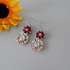 Boucles d'oreilles double fleur avec capsules Nespresso blanc / rouge
