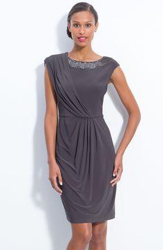 Adrianna Papell Beaded Draped Jersey Sheath Dress