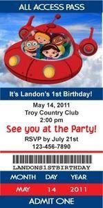 Little Einsteins Rocket Ticket Style Birthday Party Invitations with Envelopes!!