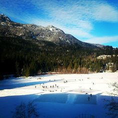 A perfect day for pond hockey on Nita Lake! nitalakelodge's photo on Instagram