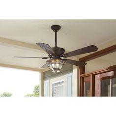 Dark aged bronze outdoor ceiling fan with lantern terrace shop harbor breeze merrimack 52 in antique bronze outdoor downrod or flush mount ceiling fan aloadofball Choice Image