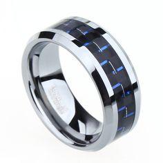 8mm de fibra de carbono negro y azul tungsten anillo azul para hombre de la joyería wedding band envío gratis