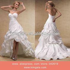 Beautiful Ruffled Skirt Short Front Long Back Wedding Dress $129.00~$189.00
