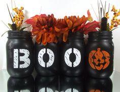 Halloween painted mason jar vases