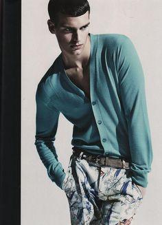 Coconut Grove...mens deep mint green cardigan and floral print pants