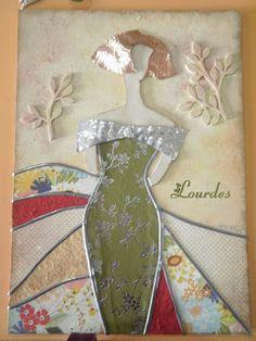 LOS TELARINES DE LULA: FELIZ JUBILACIÓN CARMEN-Menina en tarjeta felicitación