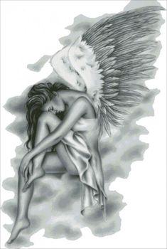The Fallen Angel Tattoo Fairy Drawings, Pencil Art Drawings, Art Drawings Sketches, Wings Drawing, Angel Drawing, Rosen Tattoo Bein, Fallen Angel Tattoo, Angel Sketch, Sad Angel
