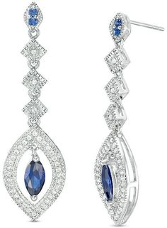 Zales Lab-Created White Sapphire Double Triangle Drop Earrings in Sterling Silver Wjl8zi
