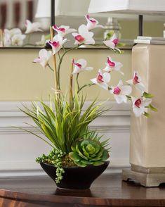 Dendrobium Orchids & Succulents<br>Artificial Plant Arrangement CREAM FUSCHIA