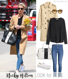 Nicky Hilton's camel coat and Converse sneakers look for less outfit idea