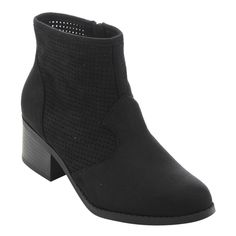 CityClassified FC64 Women's Faux- Perforated Cut-out Low Block Heel Ankle Booties