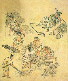 Ages Joseon Painting Of Threshing By Danwon Kim Hong Do Korea Korean Painting, Chinese Painting, Korean Traditional, Traditional Art, Asian Artwork, Comic Pictures, Vietnam, China Art, Korean Art