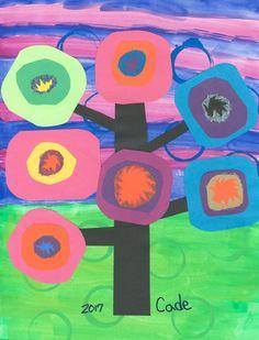 Art Lesson Plans for All Ages from SilverGraphics Tiger Artwork, Heart Artwork, Flower Artwork, Tree Collage, Tree Art, Elementary Art Lesson Plans, Mondrian Art, Kandinsky Art, Watercolor Sunset