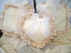 Vintage shabby cottage muslin pillows adorned by AnitaSperoDesign, $90.00
