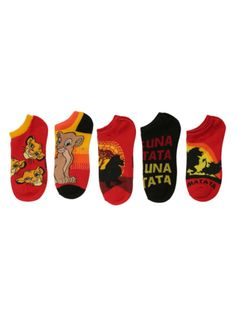 Five pairs of The Lion King themed no-show socks.