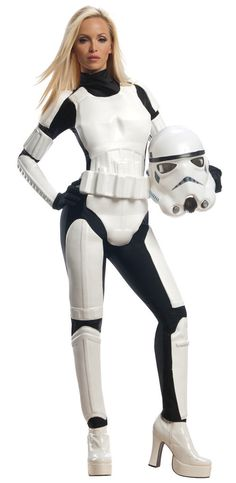 Star Wars Stormtrooper Adult Costume Includes: black spandex jumpsuit with attached wihte PVC molded armor on the front, belt and 2 piece mask. **Please note: mask varies slightly then pictured (No bl