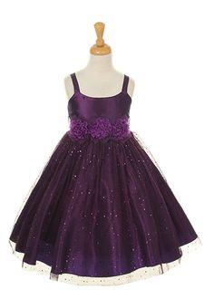 Purple Hologram Mesh Glitter Taffeta Girl Dress