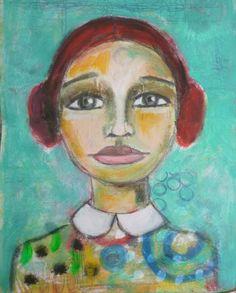 demurely Portrait of a woman, Acrylic painting, Mixed Media Art, Benedicte 2015