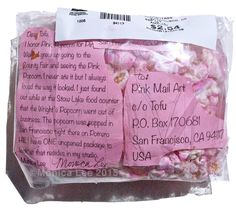 This piece of pink mail art, this handmade postcard really pops! Yes Monica Lee sent some pink popcorn mail art for the Pink Week Mail Art show in Sacramento that opens on November 13th, 2015.