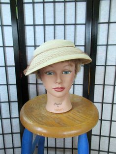 Vintage Womens Panama Hat 1940s 1950s Straw Tilt Hat by girlgal6