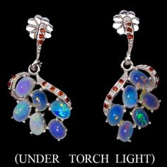 925 Silber Ohrringe Wello Feuer Opal Granate einzigartigGewicht 7.30 gramFläche 20mm x 16mmAus Thailand