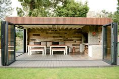 All weather Braai BBQ contemporary-patio Backyard Guest Houses, Backyard Office, Backyard Patio Designs, Outdoor Kitchen Patio, Outdoor Kitchen Design, Outdoor Rooms, Outdoor Decor, Garden Lodge, Garden Cabins