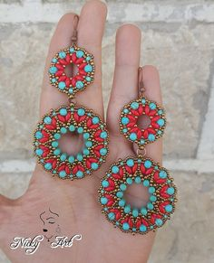 Earrings Tibet- beading pattern - Tutorial Orecchini Tibet – schema orecchini con rulla, supeduo, perle e rocailles – Pdf – ear - Beaded Earrings Patterns, Beaded Jewelry Designs, Lace Earrings, Seed Bead Jewelry, Bead Jewellery, Seed Bead Earrings, Jewelry Patterns, Beading Patterns, Seed Beads