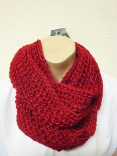 warmer Strick Loop Schal rot in Kleidung & Accessoires, Damen-Accessoires, Schals & Tücher | eBay