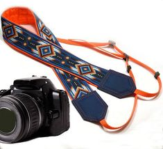 Camera strap inspired by Native American. Southwestern Ethnic Camera strap. Yellow and blue DSLR / SLR Camera Strap. Camera accessories.