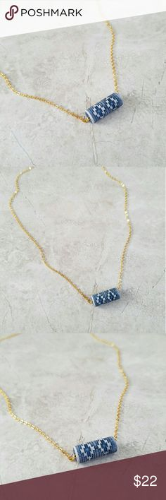 "Dainty Southwestern Necklace Lovely, dainty necklace. Southwestern patterned terra cotta bead on delicate, gold plated chain.  Necklace measures 19"" around.   **Handmade in California. Madewell used for exposure. Madewell Jewelry Necklaces"