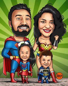 "CARICATURAS PARDO: Caricatura Familiar ""Liga de la Justicia"""