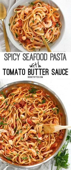 Spicy Seafood Pasta with Tomato Butter Sauce is a simple go-to weeknight dinner that can be made with pantry staples. @budgetbytes
