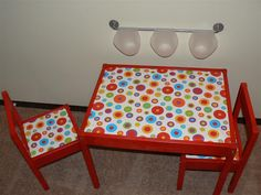 for kids table, I love the idea towel bar in the back too