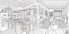 O Homem do Saco - Background Design on Behance House Colouring Pages, Quote Coloring Pages, Adult Coloring Book Pages, Coloring Books, Building Sketch, Visual Development, World Of Color, Designs To Draw, Doodle Art