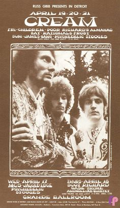 Cream - Eric Clapton in the middle with a bad perm! Saw them in 1966 at the Savile Theatre in London.