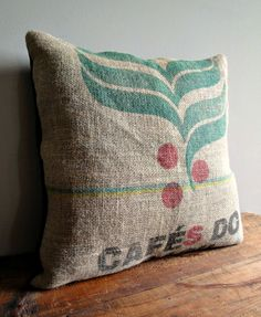 Cafe Brasil Pillow - Made from Recycled Coffee Bean Sack - 20x20