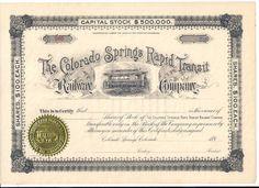 The Colorado Springs Rapid Transit RW Co. Unissued Certificates