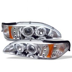 Ford Mustang Osram LED Dual Halo DRL Daytimg Running Lights Front Projector Headlights Headlamps Replacements Both Driver Passenger Sides Left Right Pair Set w/ Low Beam 9005 High Beam Bulbs 1995 1996 1997 94 95 96 97 98 Chrome Projector Headlights, Car Headlights, Led Projector, Led Tail Lights, Car Lights, Mustang Accessories, Aftermarket Headlights, First Time Driver, Car Ford