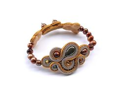 Golden Pyrite. Hand embroidery soutache bracelet with pyrite, Swarovski pearls and natural freshwater pearls