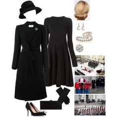 Apr 2020 - A fashion look from February 2018 by hm-queen-rose featuring Lanvin, Yves Saint Laurent, Bally and Edie Parker Funeral Dress, Funeral Outfit, Funeral Wear, Royal Fashion, Fashion Looks, Vintage Dresses, Vintage Outfits, Lawyer Outfit, Royal Clothing