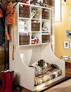 Our mudroom has turned into a dog room, with a doggy door, bed, feeding area. This would make it look nicer and lots of handy storage for doggy stuff. Cubbies, Diy Pour Chien, Diy Dog Bed, Large Dog Bed Diy, Cool Dog Beds, Ideas Para Organizar, Dog Rooms, Rooms For Dogs, My Dream Home