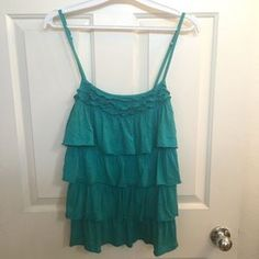 Express Tops - Teal / Aqua Layered Ruffle Cami Top