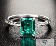 Emerald Engagement Ring Diamond Pave White by IturraldeDiamonds, $625.00