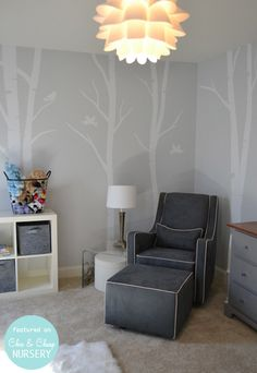 Love the decals from Etsy and light from IKEA. Would probably paint walls green.